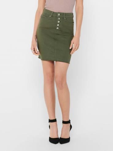 Falda slim vaquera de color verde - Mujer - Uesti