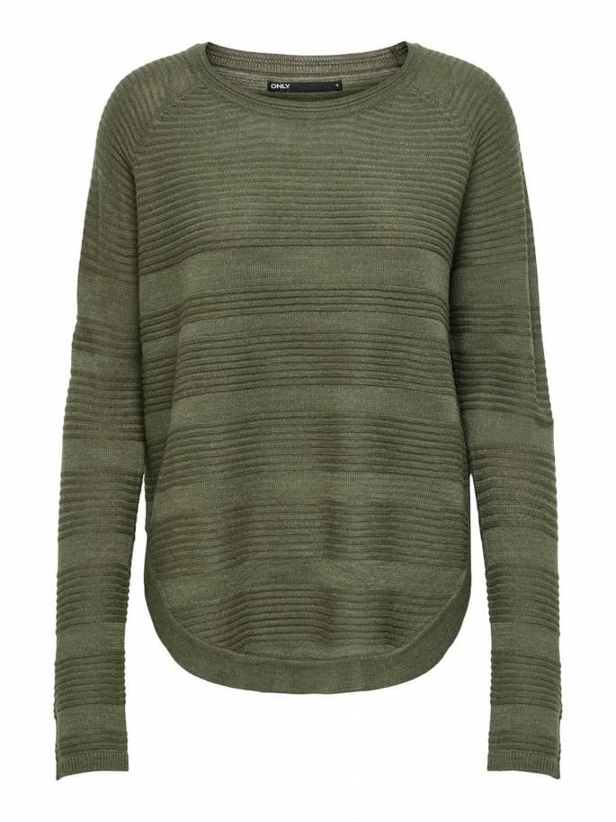 Jersey básico de punto liso verde - Mujer - UESTI