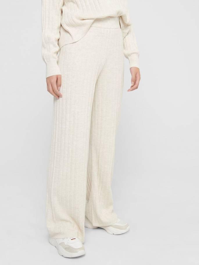 Pantalones unicolor de corte de punto - Mujer - Uesti