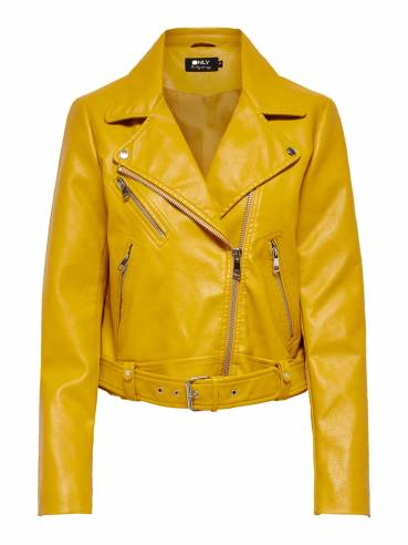 Chaqueta biker amarilla de polipiel - Mujer - Uesti