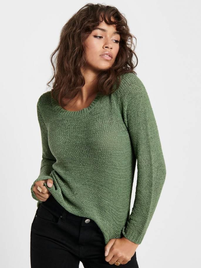 Geena Jersey de punto liso verde - Only - 15113356 - Uesti