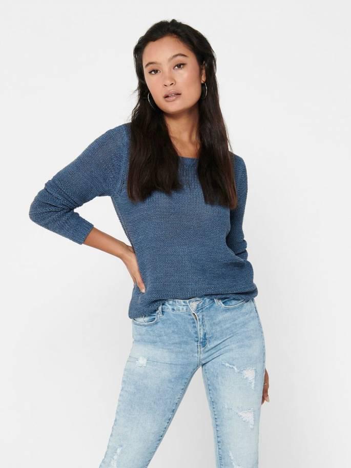 Geena Jersey de punto liso azul - Only - Uesti
