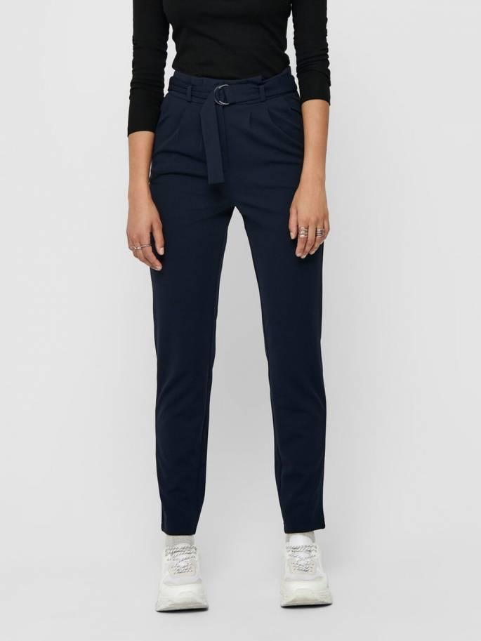 Pantalones unicolor con cinturón- Mujer - Uesti
