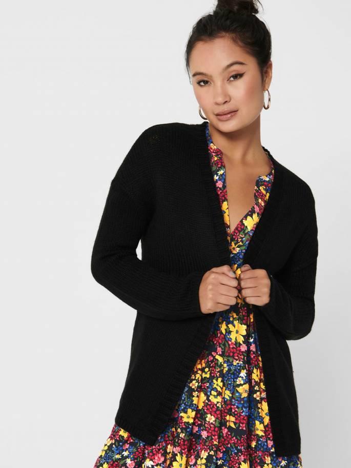 Cardigan de canalé de color negro - Mujer - Uesti