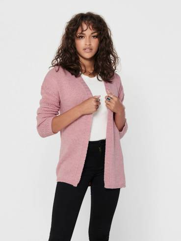 Cardigan de canalé de color rosa - Mujer - Uesti