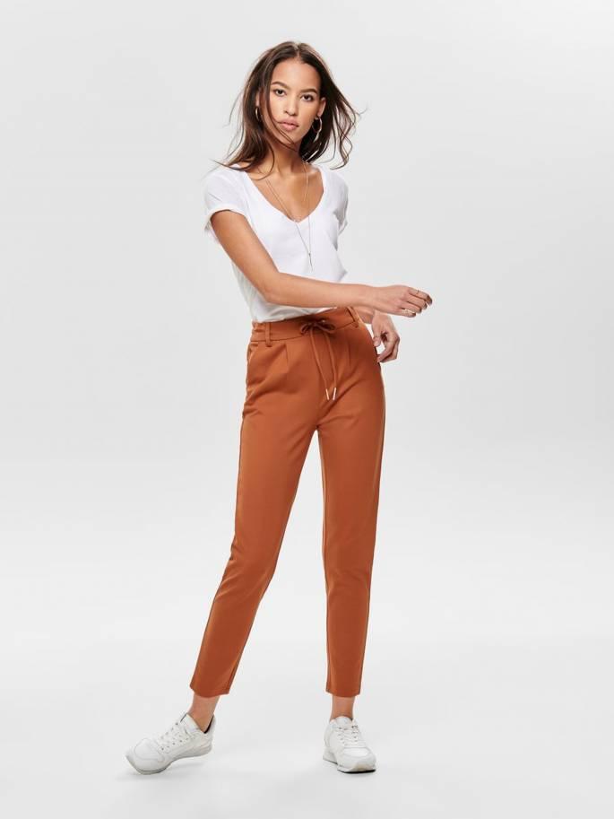 Poptrash pantalones lisos de color holgado teja - Mujer - Uesti