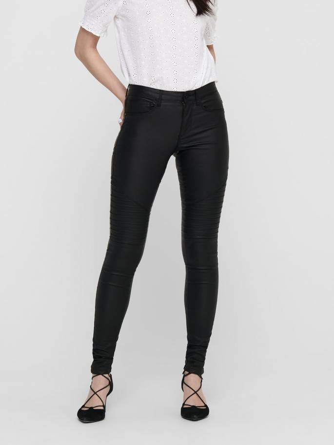 Jeans de tipo encerado en color negro - Mujer- Uesti