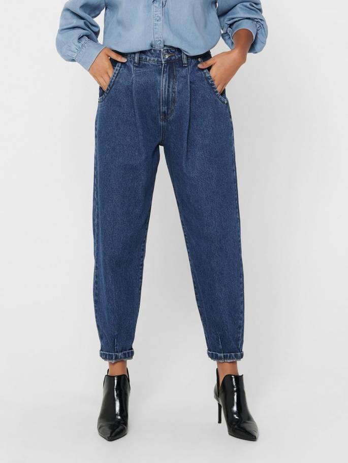 Jeans de corte balloon straight de talle alto - Mujer - Uesti