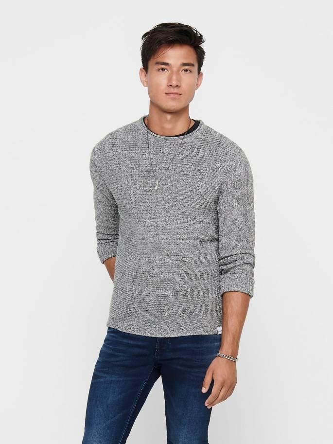 Jersey de punto texturizado color gris claro - Hombre - Uesti