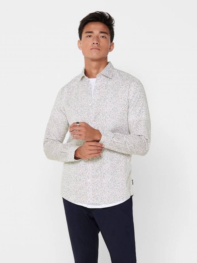 Camisa clásica blanca con pequeño estampado - Hombre - Uesti