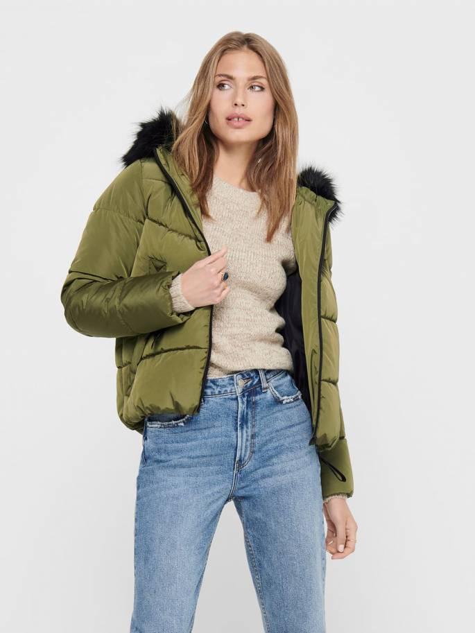 Cazadora corta acolchada con pelo en la capucha verde - Mujer -  Uesti