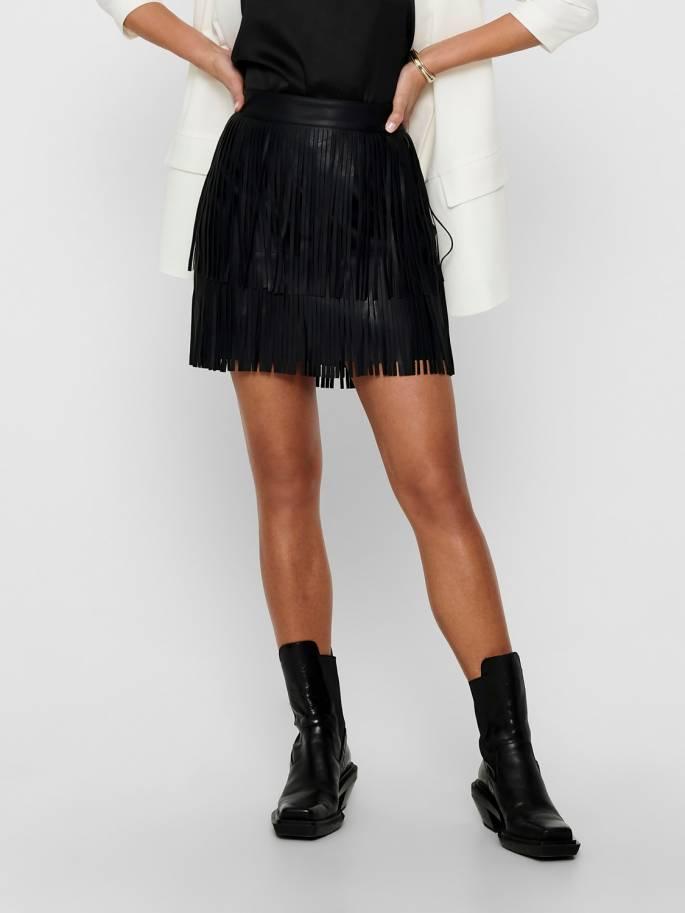 Falda de cuero sintético negra con flecos - Mujer - Uesti