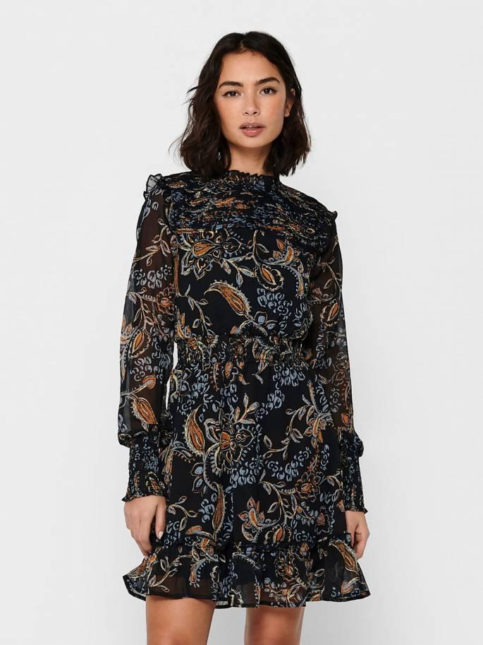 Vestido fruncido de manga larga - Mujer - Uesti