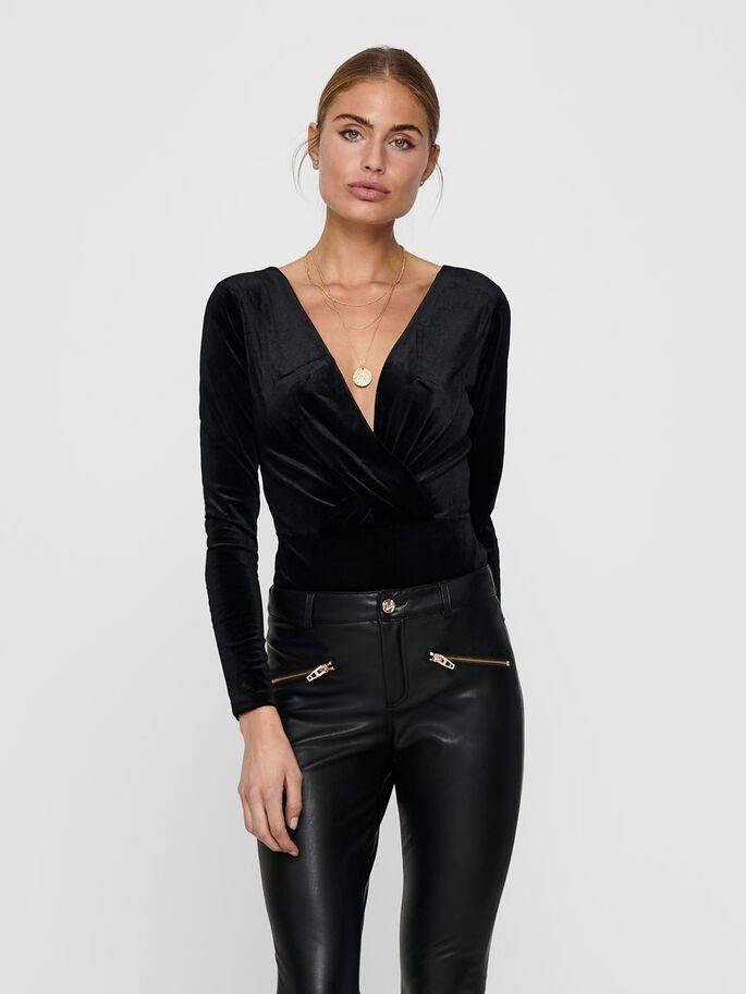 Body negro de terciopelo escotado - Mujer - Uesti