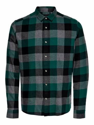 Con estampado de cuadros camisa para hombre - 22018211 - Uesti