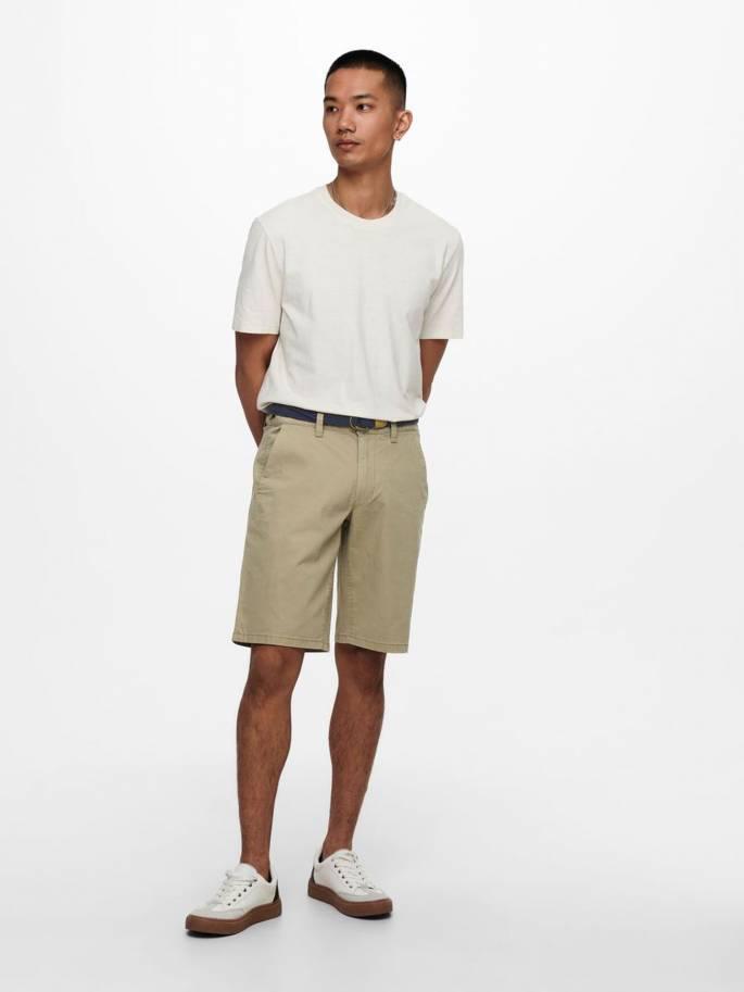 Cam shorts chinos con cinturón - Hombre - Uesti
