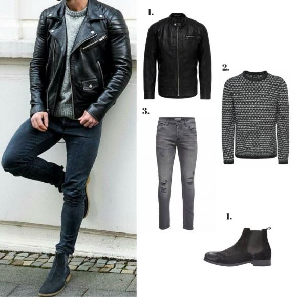Chaqueta de cuero, jersey, jeans y botas chelsea