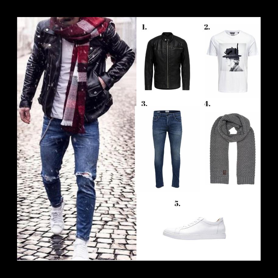 Chaqueta de cuero con camiseta básica, bufanda, jeans y deportivas