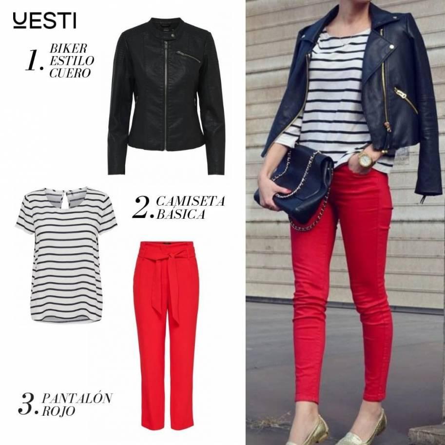 Look chaqueta de cuero con pantalón rojo
