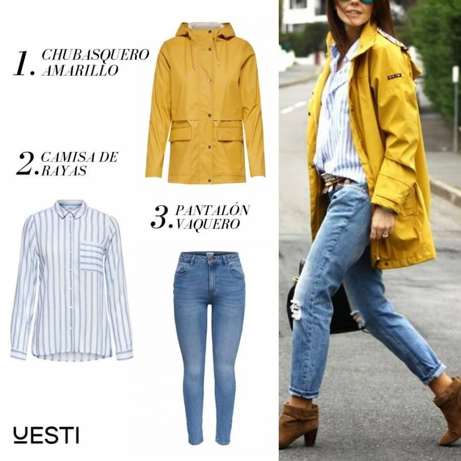 Chubasquero amarillo con jeans y camisa
